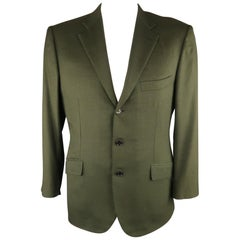 BRIONI 42 Short Olive Cashmere / Silk Notch Lapel Sport Coat