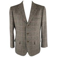 BRIONI 43 Short Gray Window Pane Cashmere Notch Lapel Sport Coat