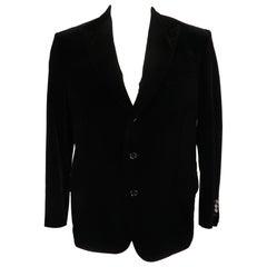 BRIONI 44 Regular Black Cotton Velvet Peak Lapel Sport Coat