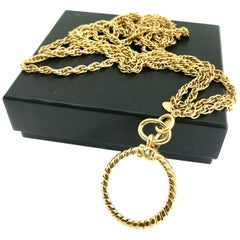 Chanel 1980s vintage long magnifying glass loupe gold plated pendant necklace