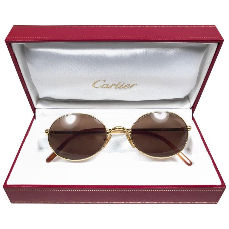 Vintage Cartier Saturne Gold Plated Solid Brown Lens France 1990 Sunglasse For Sale