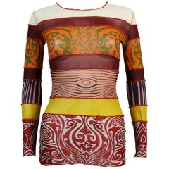 Jean Paul Gaultier Vintage Cyberbaba Tattoo Body Map Optical Illusion Top Size M
