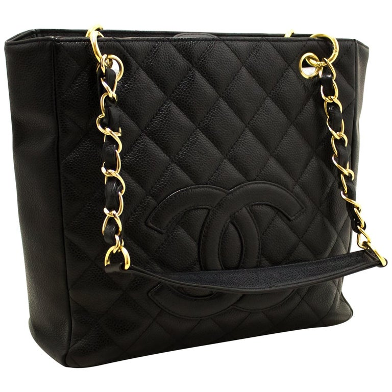 2280c573b0699e CHANEL Caviar PST Chain Shoulder Shopping Tote Bag Black Quilted For Sale
