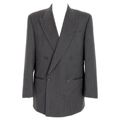 1980s Gianfranco Ferre Blue Gray Wool Double Breasted Pinstripe Jacket