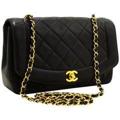 CHANEL Diana Chain Flap Shoulder Crossbody Bag Lambskin Black