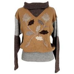 Castelbajac Iceberg Brown Wool Sweater Floral