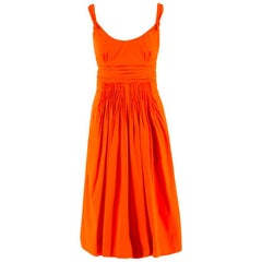 Prada Orange A-line Pleated Dress US 0-2