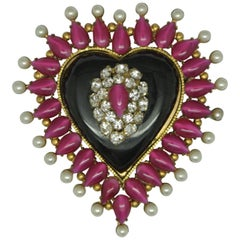 Vintage Chanel bakelite black heart pink Glass Brooch
