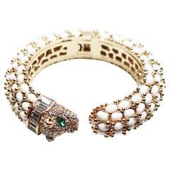 Green Eyed Panther Bangle Bracelet
