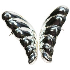 Sterling Silver Puffed Butterfly Earrings