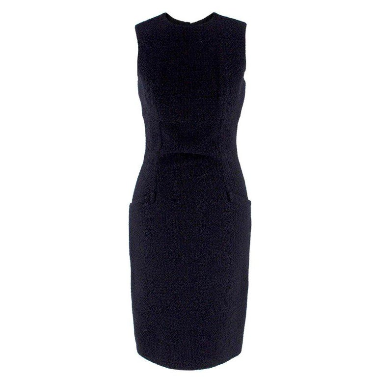 Valentino Boutique Black Fitted Wool Dress US 6 For Sale