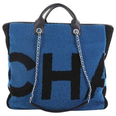 Chanel Logo Shopping Tote Printed Shearling Large