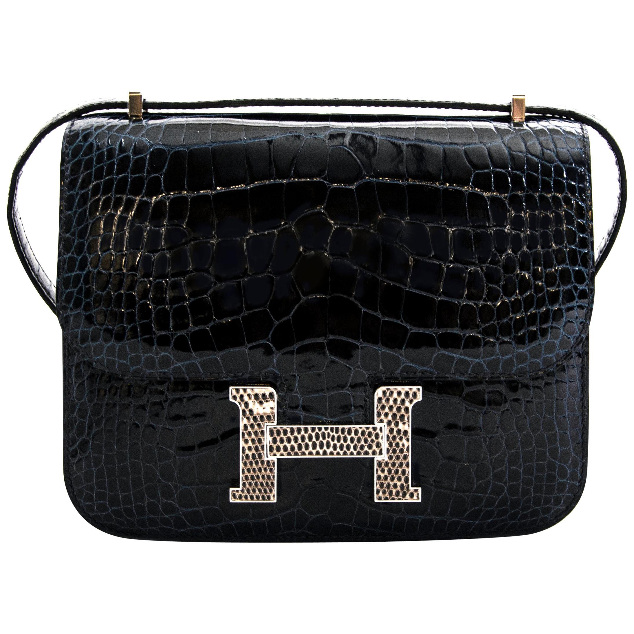 Hermès Constance Mini Marquete Alligator Miss. Lisse Bleu Marine / Ombre