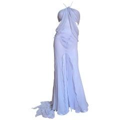 Krizia Lavender Runway Draped Silk Gown