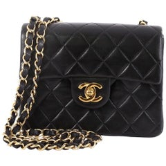 Chanel Vintage Square Classic Single Flap Bag Quilted Lambskin Mini 1abc1ac333163