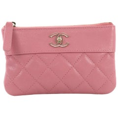 Chanel Mademoiselle Vintage O Case Clutch Quilted Sheepskin Mini