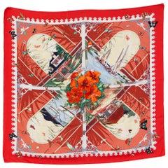 Hermes Red Varangues Silk Scarf