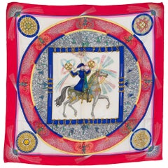 Hermes Red Feu d Artifice Silk Scarf by M. Duchêne 1987s