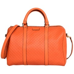 Gucci Orange GG Monogram Microguccissima Leather Medium Joy Boston Bag W/ Strap