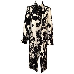 Christian Lacroix Black and White Abstract Floral Patterned Silk Coat