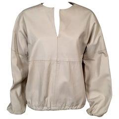 1970's Bonwit Teller White Leather Pullover Blouson Top