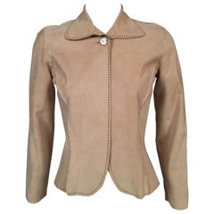 Buff Colored Suede Jacket with Perforated Design and Pinked Edges