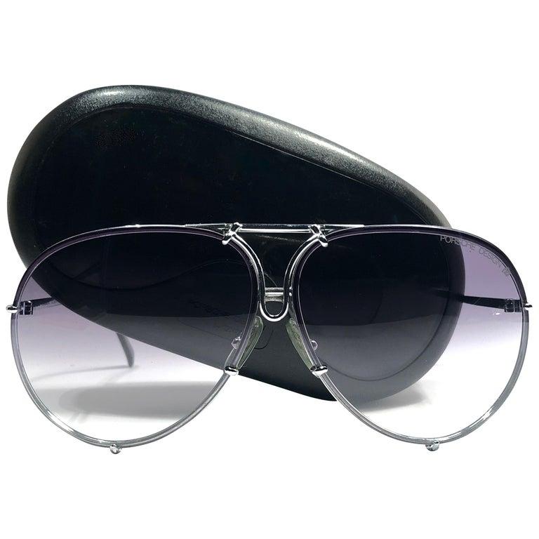 8ba121eefb410 New Vintage Porsche Design 5623 Silver Oversized Aviator Sunglasses Austria  For Sale