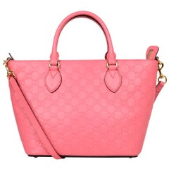 Gucci Pink Leather GG Monogram Guccissima Signature Zip Tote Bag W/ Strap