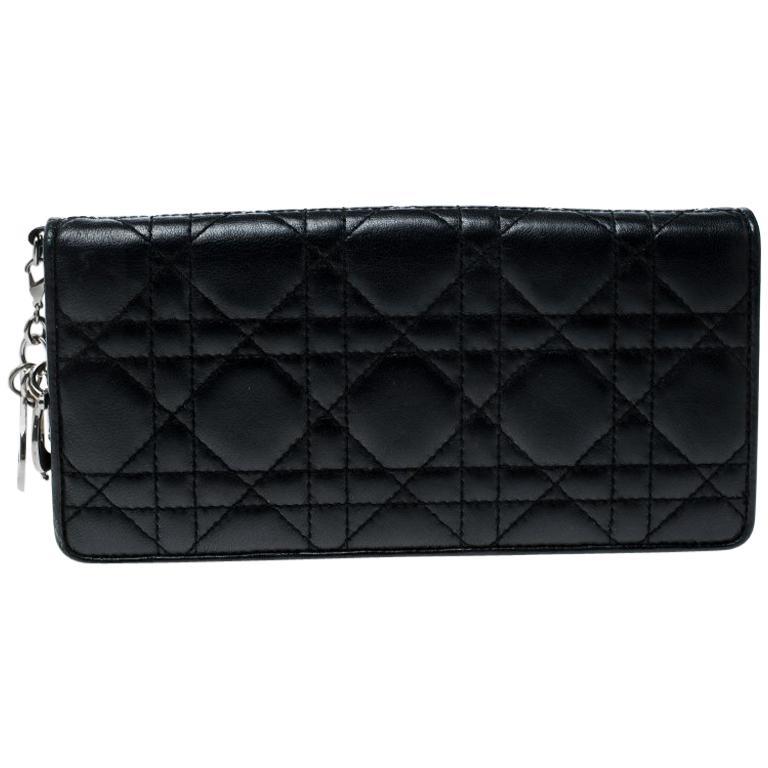 e27edc6cad592 Dior Schwarze Cannage Leder Lady Dior Umschlag-Geldbörse im Angebot ...