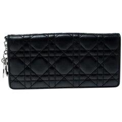 Dior Schwarze Cannage Leder Lady Dior Umschlag-Geldbörse