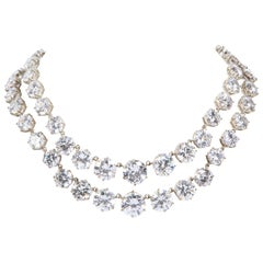 Vintage Bergdorf Goodman Magnificent Two Strand CZ Faux Diamond Necklace