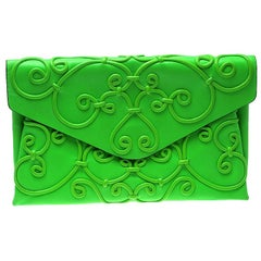 Valentino Neon Green Leather Intricate Clutch