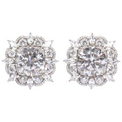Large 10 Carat Center  Brilliant CZ Cluster Sterling Silver Earclips