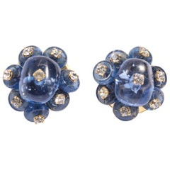 Vintage French Faux Cabochon Sapphire Diamond Earclips