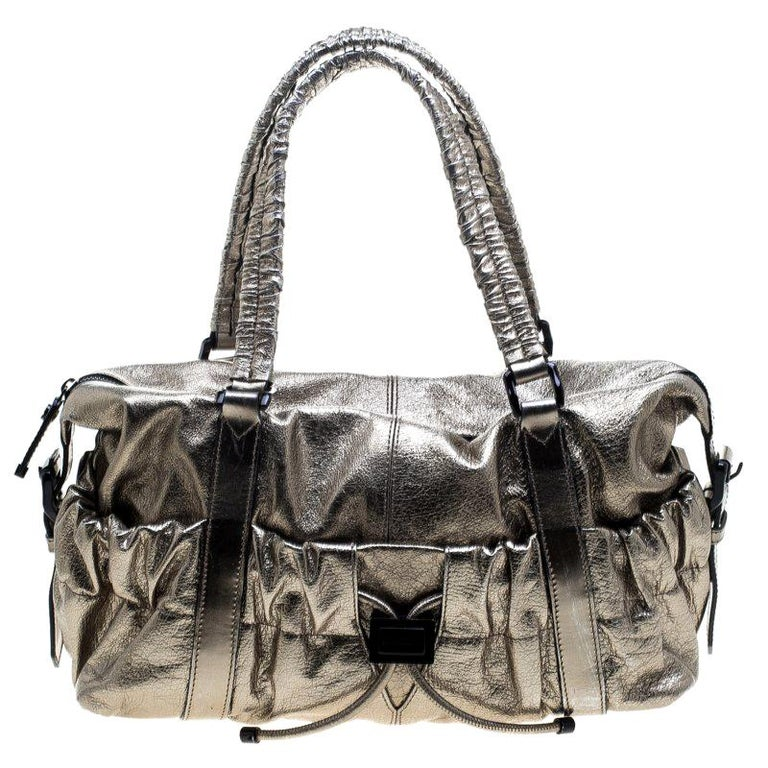 210a392a6c50 Burberry Metallic Gold Leather Curzon Shoulder Bag For Sale at 1stdibs
