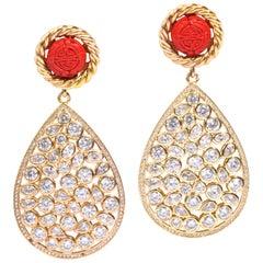Designer Large Vintage Chinese Good Luck Red Coromandel CZ Vermeil Earrings