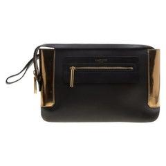 Lanvin Black/Gold Leather Le Jour Clutch