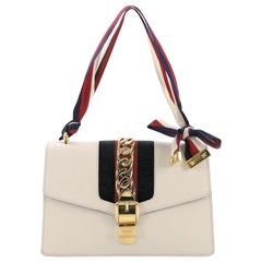 Gucci Sylvie Shoulder Bag Leather Small, crafted in off-white leather
