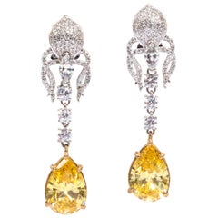Elegant Canary Yellow Cubic Zirconia Sterling Silver Clip Post Dangling Earrings