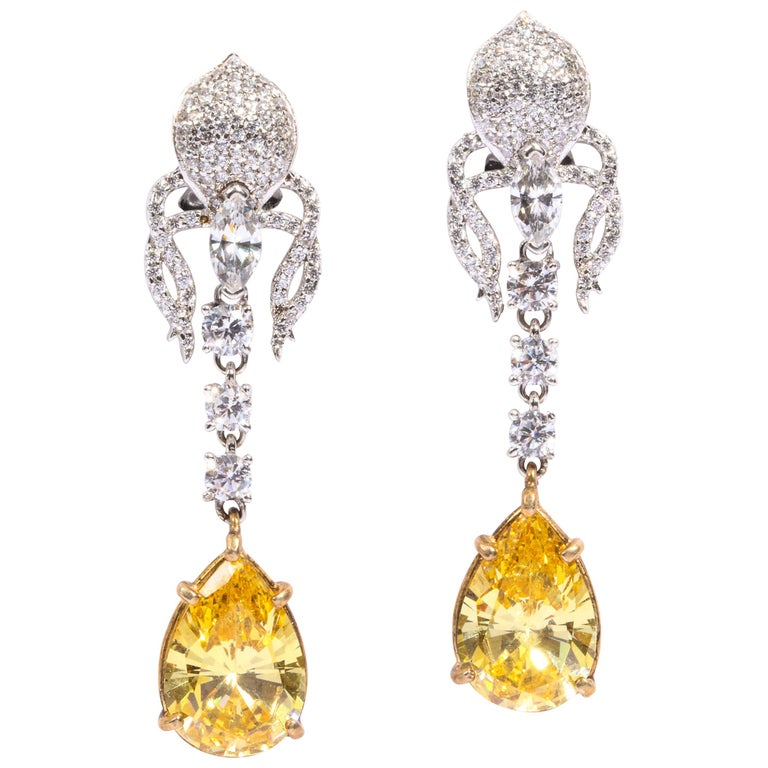 b4bc2b42d Elegant Canary Yellow Cubic Zirconia Sterling Silver Clip Post Dangling  Earrings For Sale