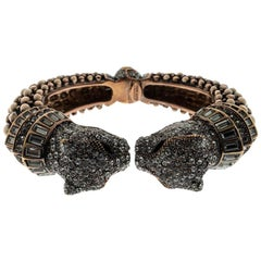 Roberto Cavalli Crystal Embellished Panther Open Cuff Bangle