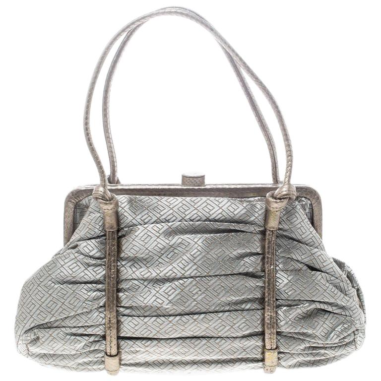 37fa7bbdd492 Bottega Veneta Silver Bronze Metallic Fabric Satchel For Sale at 1stdibs