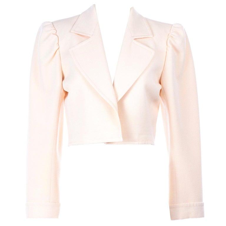 YSL Yves Saint Laurent Vintage Cream Open Front Cropped Jacket or Blazer For Sale