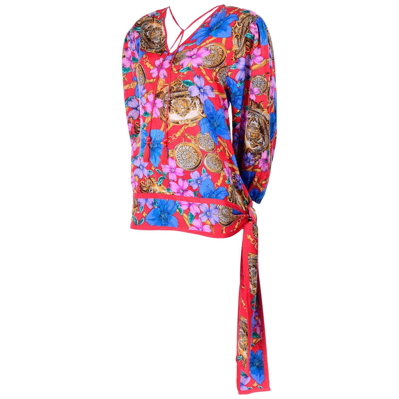 Vintage Diane Freis Blouse in Silk Baroque Print Top With Tassels & Side Sash