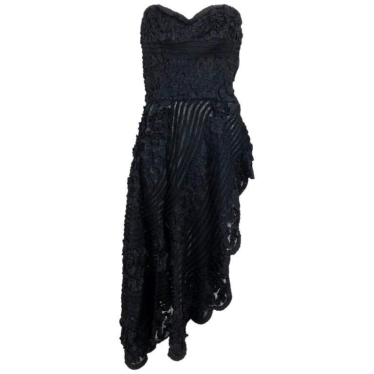 1950s Black Ribbon Work Strapless Asymmetrical Dress  For Sale