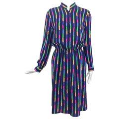 Louis Feraud Silk Colour Block Side Slit Shirtwaist Dress 1980s