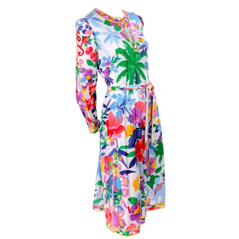 Leonard Vintage Dress in Tropical Floral Fish Elephant Print Silk Jersey For Sale