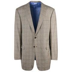 Brioni Mens Brown Checkered Wool Secolo Sport Coat Blazer