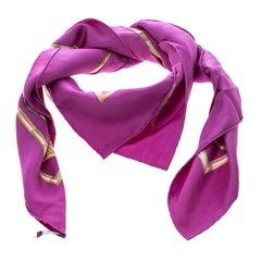 Hermes Purple Brazil Feather Print Silk Square Scarf