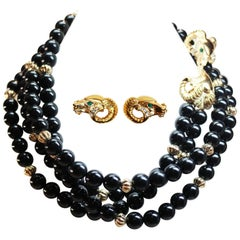 Kenneth Jay Lane Ram's Head Necklace and Earring Set